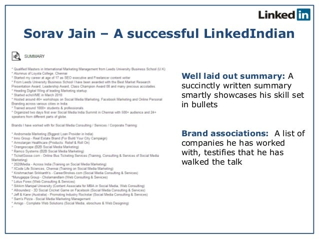 Best Linkedin Profile An Indian Example