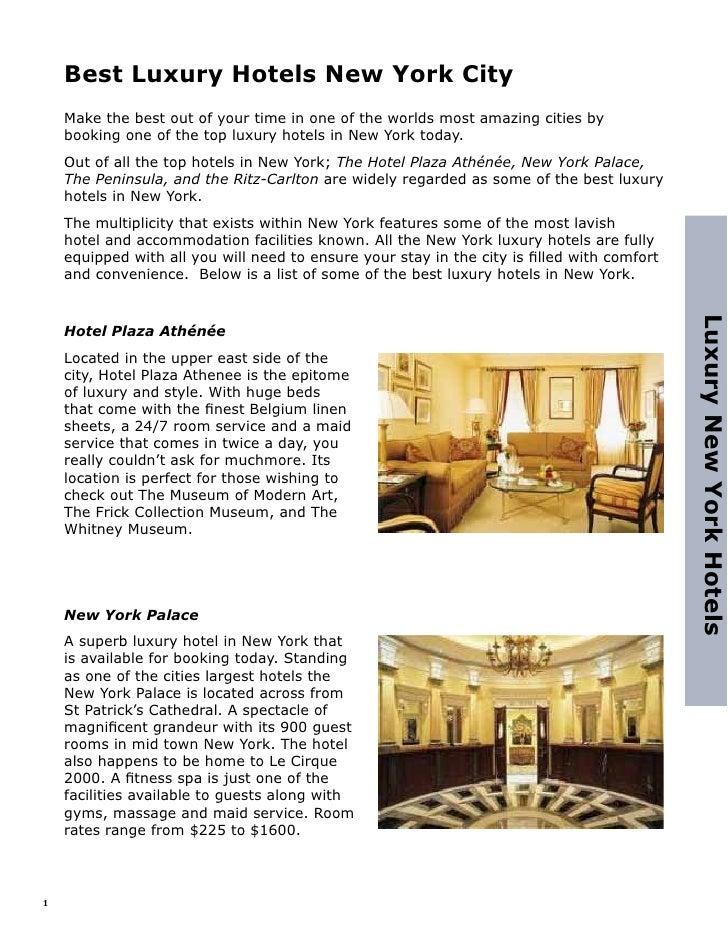 Best Luxury Hotels In New York City