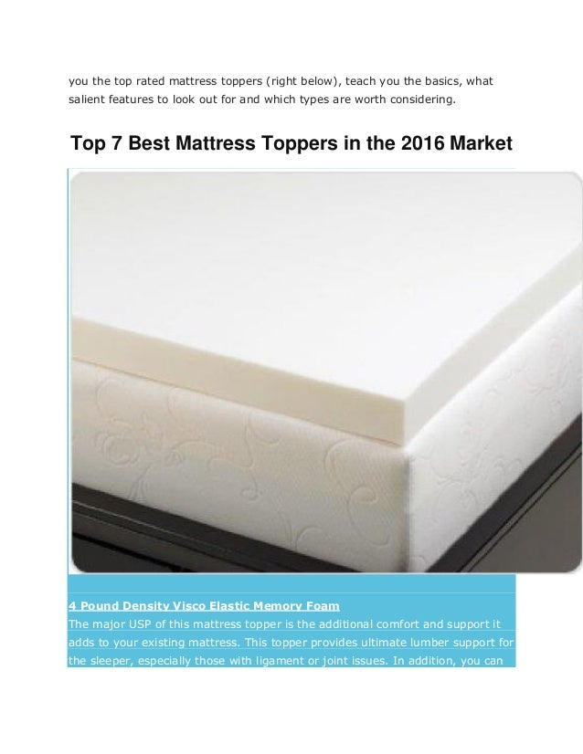 Best mattress toppers 2017 reviews