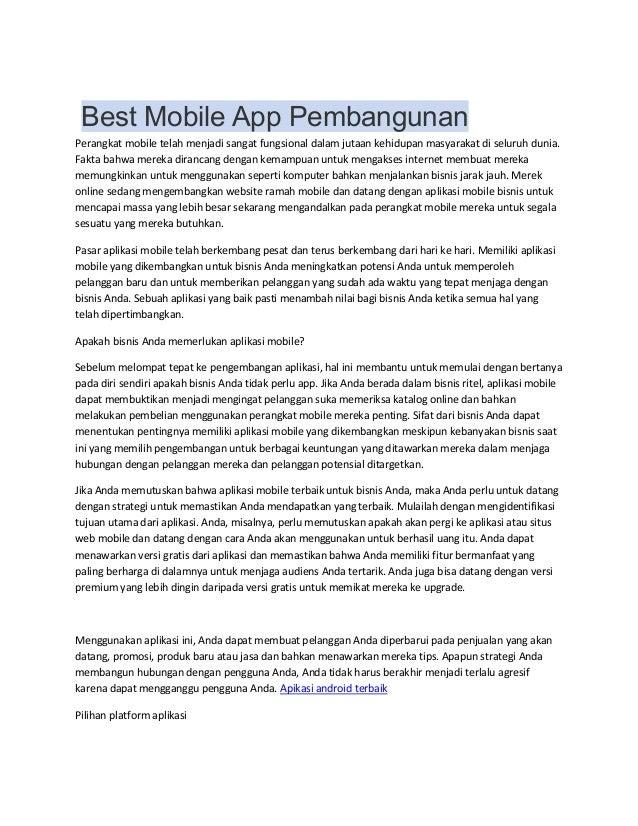Best Mobile App Pembangunan Perangkat mobile telah menjadi sangat fungsional dalam jutaan kehidupan masyarakat di seluruh ...