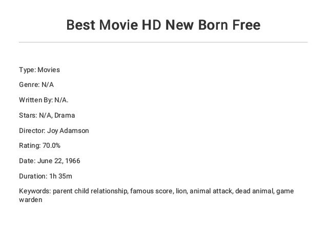Movies free born Born Free:
