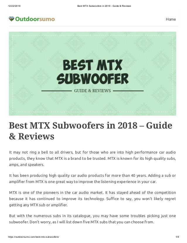 Best MTX Subwoofers in 2018 – Guide