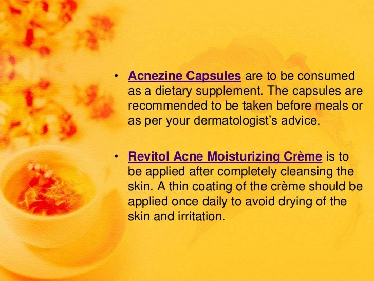 • Acnezine Capsules are to be consumed  as a dietary supplement. The capsules are  recommended to be taken before meals or...