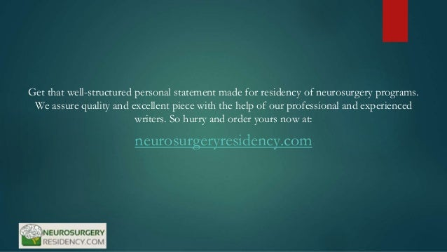 Neurosurgery personal statement