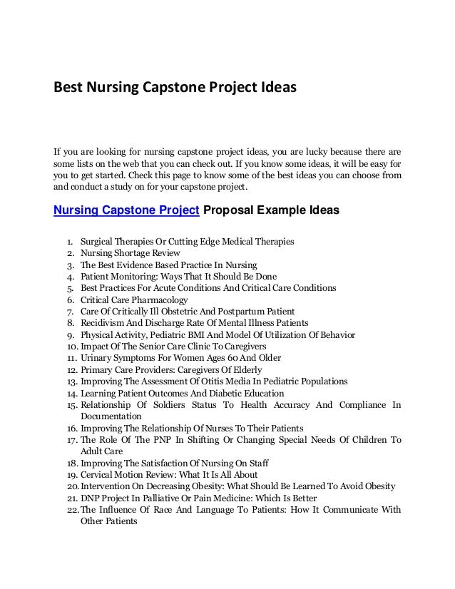 nursing capstone project from gcu This capstone project is aimed to find some causes and to formulate a recommendation to decrease nursing burnout in the hospitals, skilled nursing facilities and other health care facilities this project is also aimed to determine a way to increase patient and nurse satisfaction by decreasing nursing burnout.