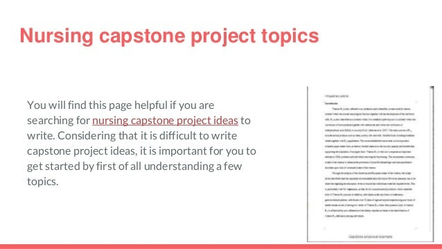 The Best Nursing Capstone Project Ideas September 2018!