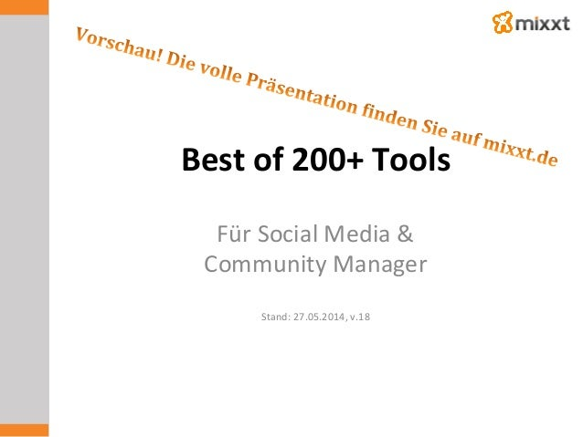 Best	   of	   200+	   Tools	    Für	   Social	   Media	   &	   	    Community	   Manager	    	    Stand:	   27.05.2014,	  ...