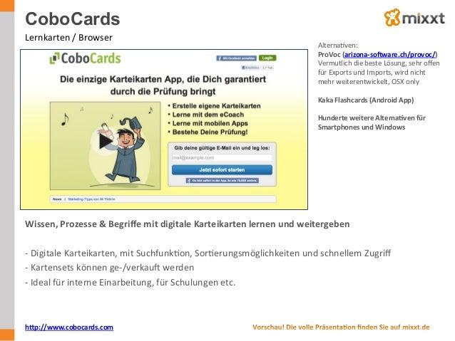 CoboCards Lernkarten  /  Browser   AlternaUven:   ProVoc  (arizona-‐sobware.ch/provoc/)   Vermutlich  die ...