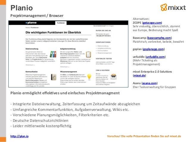 Planio Projektmanagement  /  Browser   AlternaUven:   ZCOPE  (getzcope.com)   Sehr  vielseiUg,  übersichtl...
