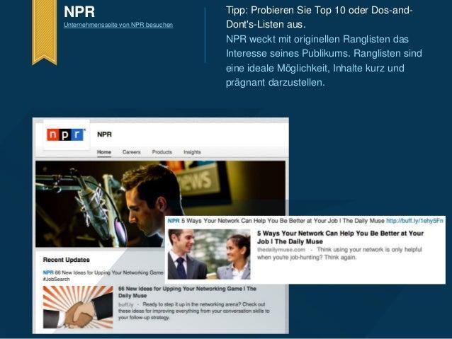 Tipp: Probieren Sie Top 10 oder Dos-and-  Dont's-Listen aus.  NPR weckt mit originellen Ranglisten das  Interesse seines P...