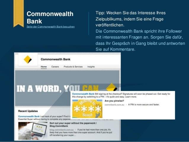 Commonwealth  Bank  Seite der Commonwealth Bank besuchen  Tipp: Wecken Sie das Interesse Ihres  Zielpublikums, indem Sie e...