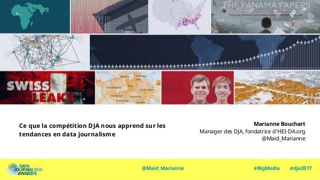 Ce que la compétition DJA nous apprend sur les tendances en data journalisme Marianne Bouchart Manager des DJA, fondatrice...