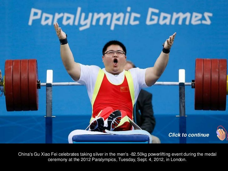 Click to continueChinas Gu Xiao Fei celebrates taking silver in the mens -82.50kg powerlifting event during the medal     ...