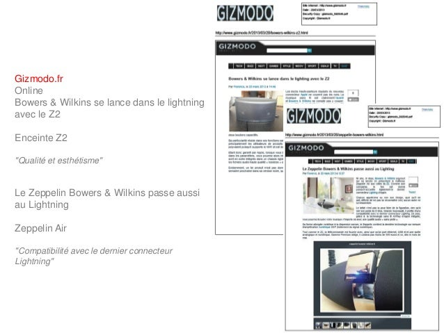 """Gizmodo.frOnlineBowers & Wilkins se lance dans le lightningavec le Z2Enceinte Z2""""Qualité et esthétisme""""Le Zeppelin Bowers ..."""
