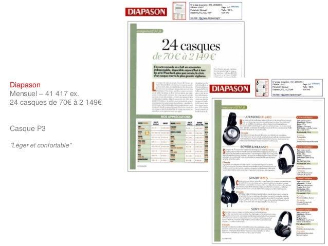 """DiapasonMensuel – 41 417 ex.24 casques de 70€ à 2 149€Casque P3""""Léger et confortable"""""""
