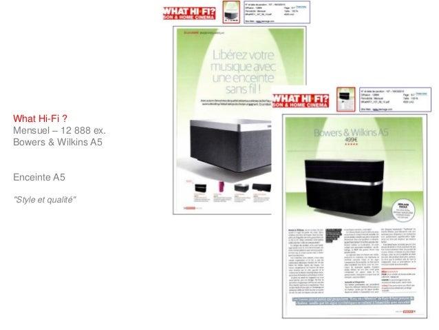 """What Hi-Fi ?Mensuel – 12 888 ex.Bowers & Wilkins A5Enceinte A5""""Style et qualité"""""""