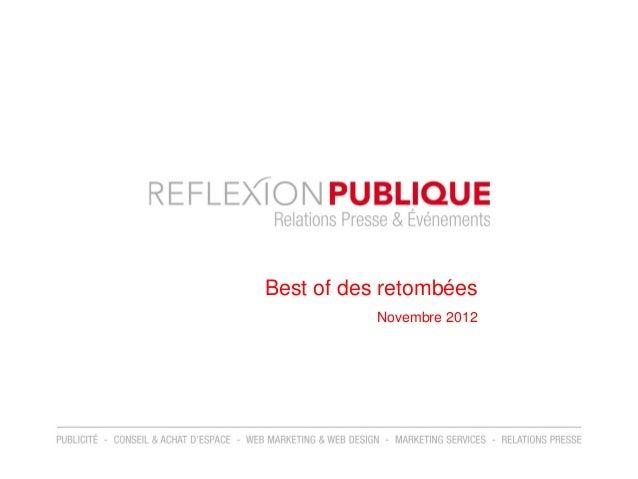 Best of des retombées           Novembre 2012