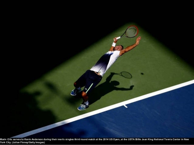 September 6, 2014 Novak Djokovic returns a shot against Kei Nishikori during their men's singles semi-final match. Elsa / ...