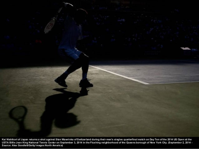 Kei Nish ikori of Japan looks on against Novak Djokovic o f Serbia during their men's singles semifinal match on Day Thirt...