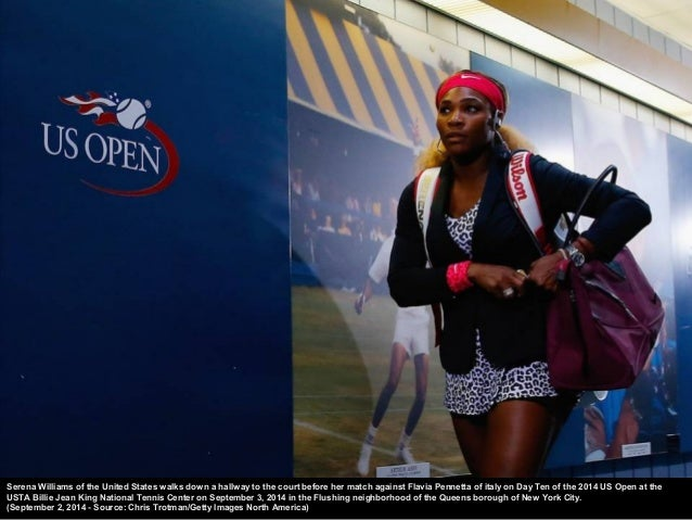 The snea kers of Serena Williams of the United States are seen during warm ups against Varvara Lepchenko of the United Sta...