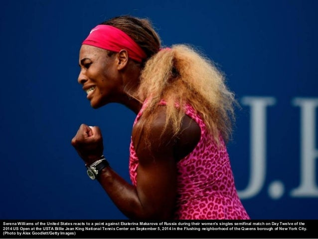 Venus W illiams (L) and Serena Williams (R) of the United S tates react against Garbine Muguruza and Carla Suarez Navarro ...