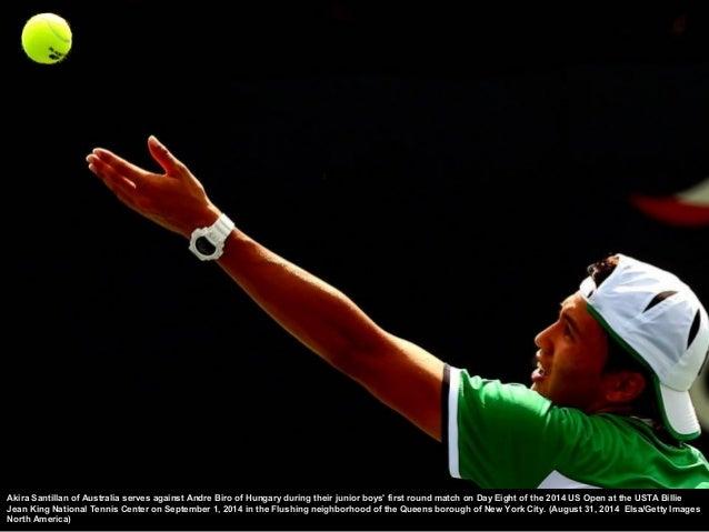 Garbine Muguruza of Spain serves against Mirjana Lucic-  Baroni of Croatia during her women's singles first round  match o...