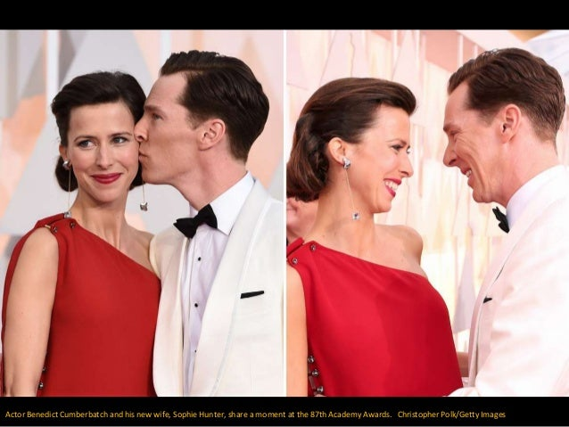 Actor Benedict Cumberbatch and his new wife, Sophie Hunter, share a moment at the 87th Academy Awards. Christopher Polk/Ge...