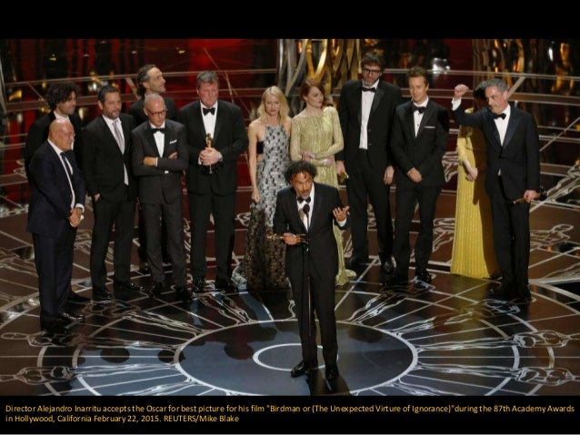 "Director Alejandro Inarritu accepts the Oscar for best picture for his film ""Birdman or (The Unexpected Virture of Ignoran..."