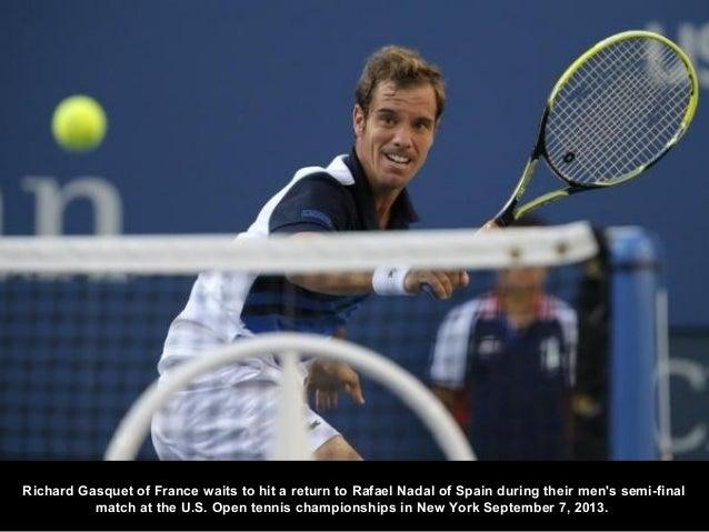 Richard Gasquet of France waits to hit a return to Rafael Nadal of Spain during their men's semi-final match at the U.S. O...