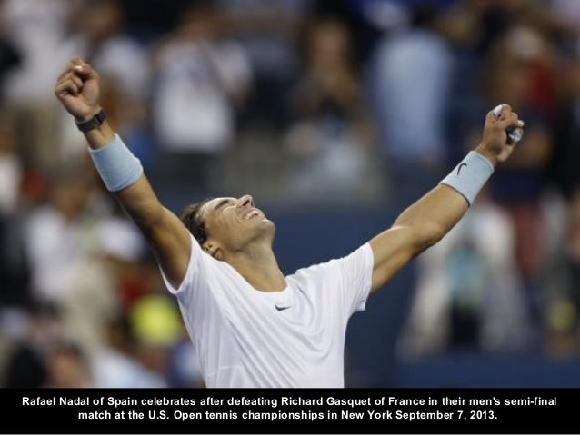 Rafael Nadal of Spain celebrates after defeating Richard Gasquet of France in their men's semi-final match at the U.S. Ope...