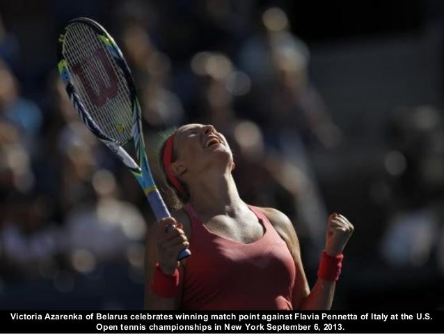 Victoria Azarenka of Belarus celebrates winning match point against Flavia Pennetta of Italy at the U.S. Open tennis champ...