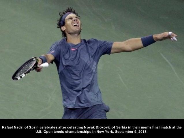 Rafael Nadal of Spain celebrates after defeating Novak Djokovic of Serbia in their men's final match at the U.S. Open tenn...
