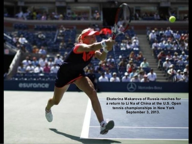 Ekaterina Makarova of Russia reaches for a return to Li Na of China at the U.S. Open tennis championships in New York Sept...