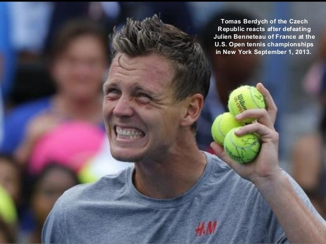 Tomas Berdych of the Czech Republic reacts after defeating Julien Benneteau of France at the U.S. Open tennis championship...