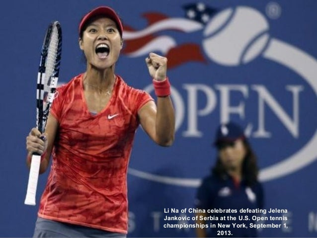 Li Na of China celebrates defeating Jelena Jankovic of Serbia at the U.S. Open tennis championships in New York, September...