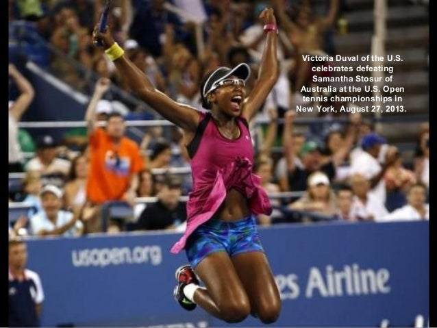 Victoria Duval of the U.S. celebrates defeating Samantha Stosur of Australia at the U.S. Open tennis championships in New ...