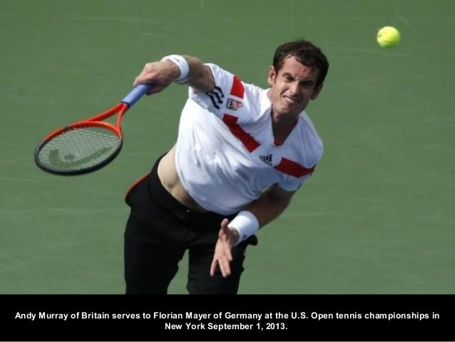 Andy Murray of Britain serves to Florian Mayer of Germany at the U.S. Open tennis championships in New York September 1, 2...