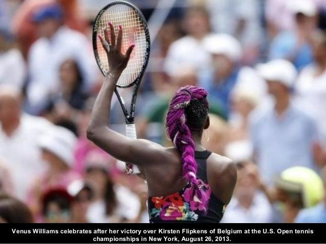 Venus Williams celebrates after her victory over Kirsten Flipkens of Belgium at the U.S. Open tennis championships in New ...