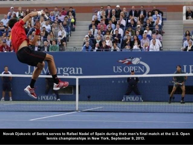 Novak Djokovic of Serbia serves to Rafael Nadal of Spain during their men's final match at the U.S. Open tennis championsh...