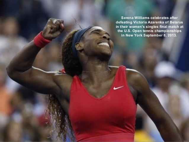 Serena Williams celebrates after defeating Victoria Azarenka of Belarus in their women's singles final match at the U.S. O...