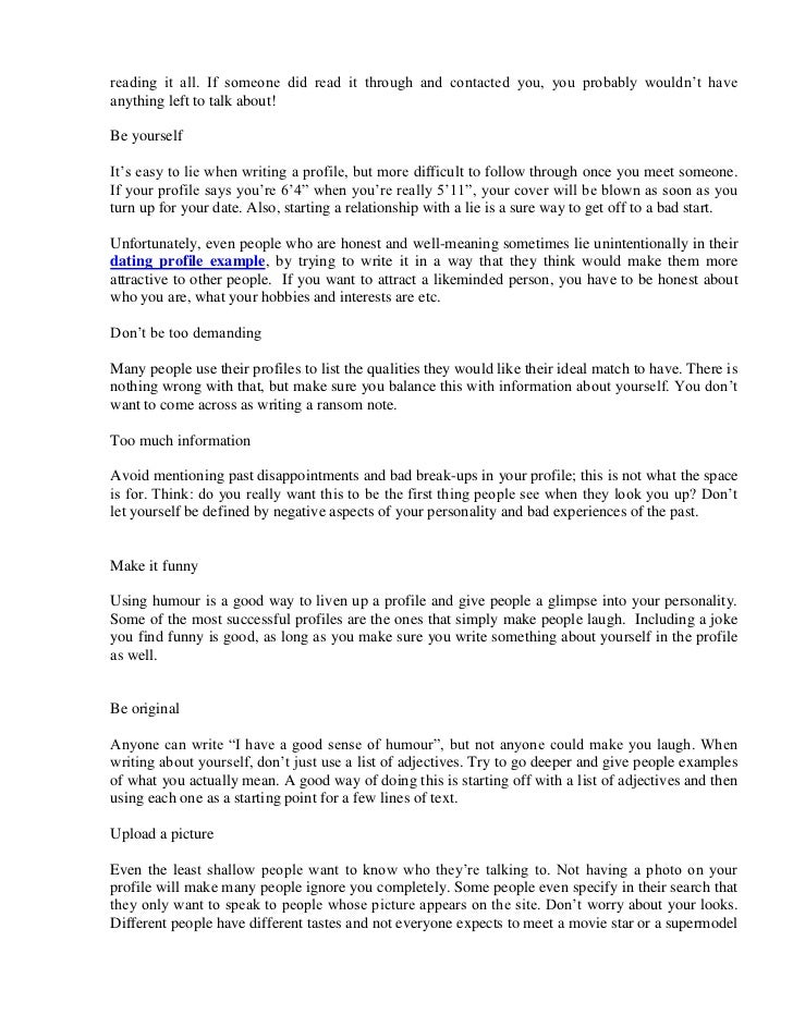 Online dating essay template