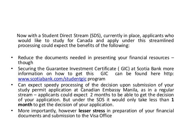 Best options for Filipinos to Apply for a Study Permit – Student Drect Stream Process Slide 2
