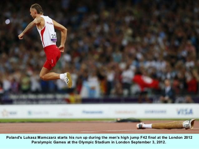 Polands Lukasz Mamczarz starts his run up during the mens high jump F42 final at the London 2012             Paralympic Ga...