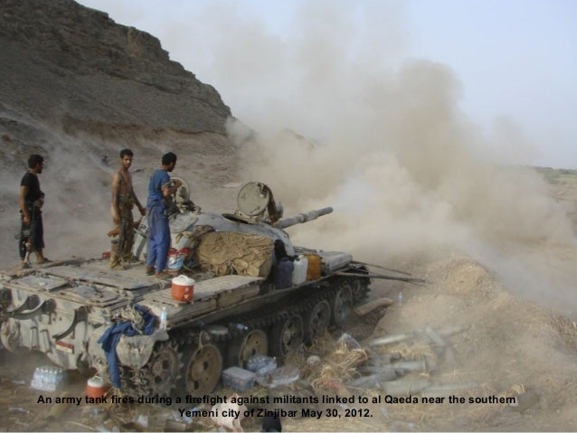 An army tank fires during a firefight against militants linked to al Qaeda near the southern                          Yeme...