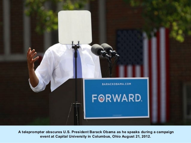 A teleprompter obscures U.S. President Barack Obama as he speaks during a campaign           event at Capital University i...