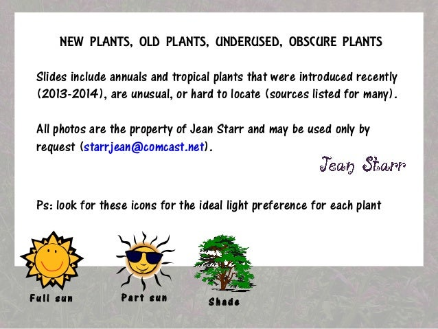 NEW PLANTS, OLD PLANTS, UNDERUSED, OBSCURE PLANTS  Slides include annuals and tropical plants that were introduced recentl...