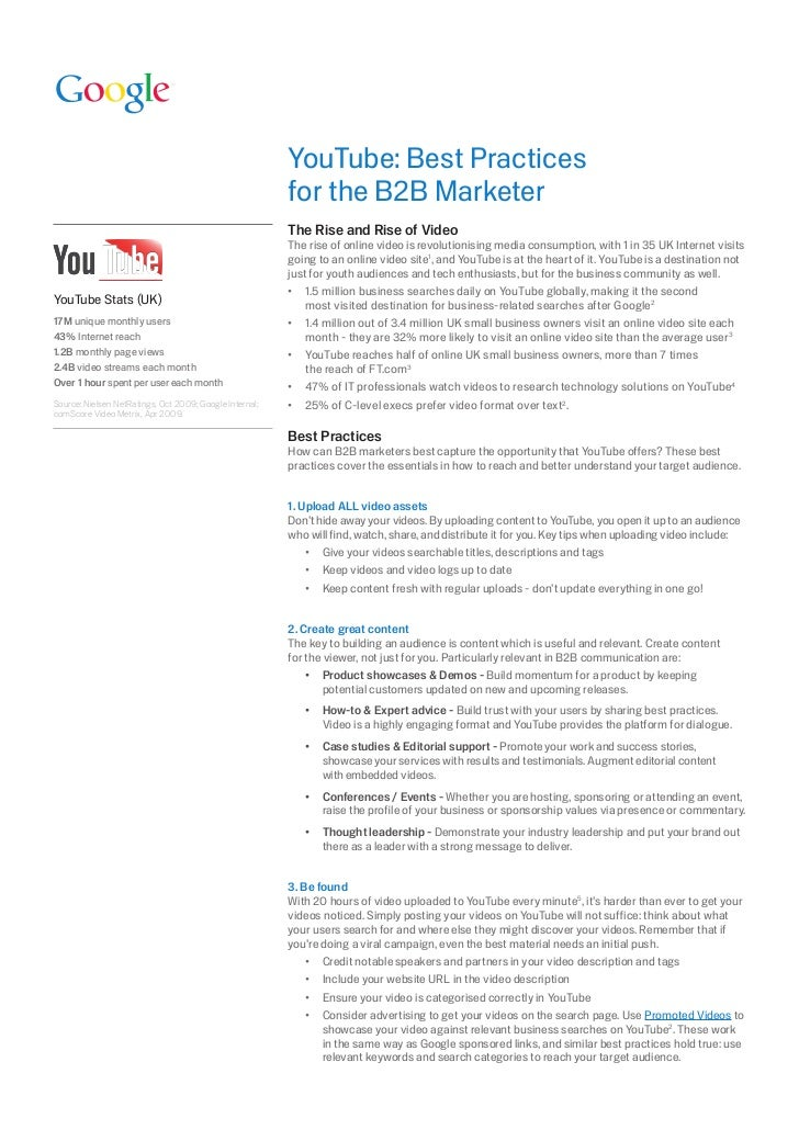 YouTube: Best Practices                                                         for	the	B2B	Marketer                      ...