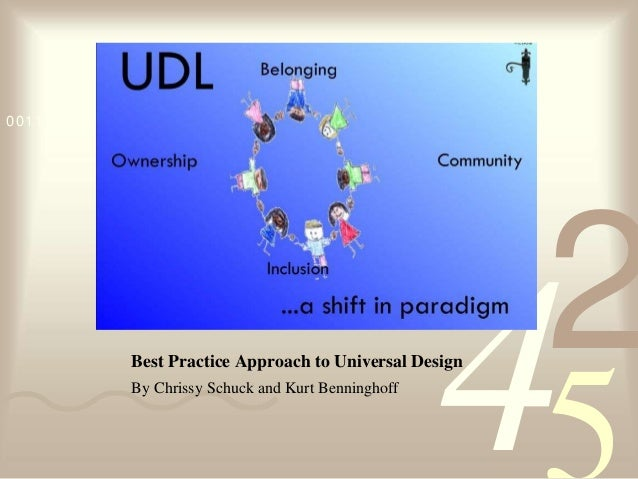 4210011 0010 1010 1101 0001 0100 1011Best Practice Approach to Universal DesignBy Chrissy Schuck and Kurt Benninghoff