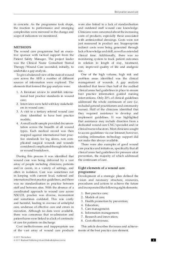 best practice in wound care Adv skin wound care 2001 jul-aug 14 (4)  sperry j, kaplan l risk factors for pressure ulcer development in a best practice surgical intensive care unit.