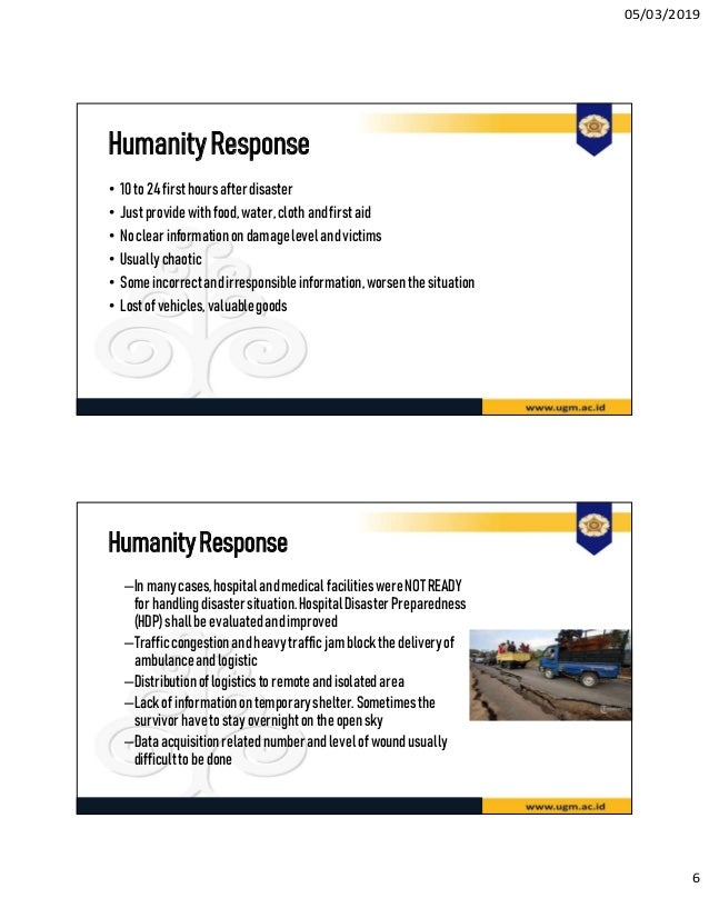Lecture 10: Best Practice: Post Disaster Response